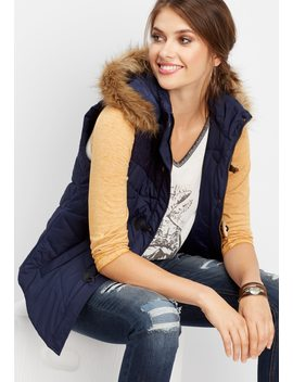 Sweater Yoke Puffer Vest by Maurices