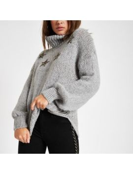 Grey Star Roll Neck Knit Sweater by River Island