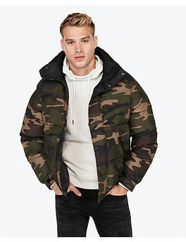 Camo Mock Neck Puffer Coat by Express