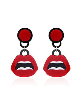 Starshiny Red Lips Fun Kiss Stud Earrings Novelty Jewelry For Girl And Women by Starshiny