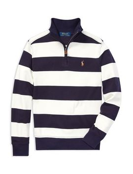 Boys' Supima® Striped Quarter Zip Sweater   Big Kid by Polo Ralph Lauren