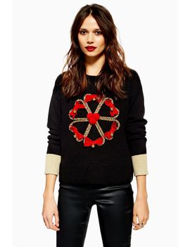 Christmas Candy Cane Wreath Jumper by Topshop