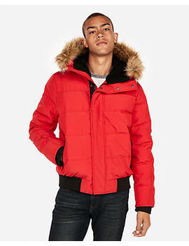 Faux Fur Lined Water Resistant Puffer Coat by Express