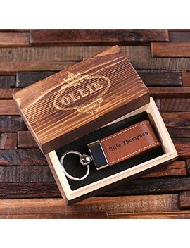 Personalized Leather Engraved Key Chain Black Light Brown And Dark Brown With Wood Box by Teals Prairie & Co.