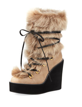 Nikita Mid Calf Fur Wedge Boots by Stuart Weitzman