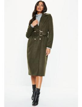 Khaki Belted Military Formal Coat by Missguided