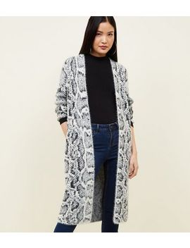 Grey Snake Print Fluffy Longline Cardigan by New Look