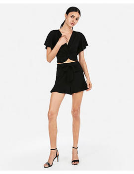 High Waisted Ruffle Hem Tie Shorts by Express