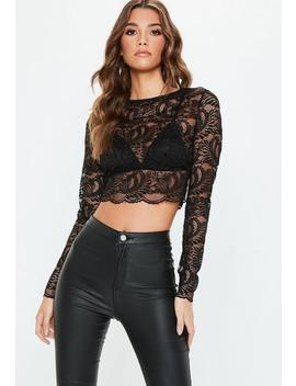 Black Lace Long Sleeve Crew Neck Crop Top by Missguided