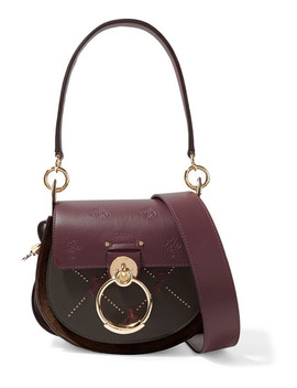 Tess Small Studded Embroidered Leather And Suede Shoulder Bag by Chloé
