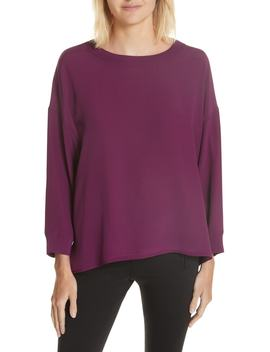 Rib Trim Silk Blouse by Vince