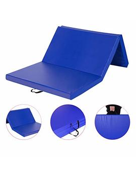 "Homevibes 4' X 8' X 3"" Gymnastics Mat Thick Folding Panel Tumbling Mat Gym Exercise Aerobics Mat With Handle Compatibility With Stretching Yoga Cheerlanding Martial Arts, Blue by Homevibes"