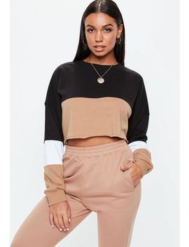 Black Colourblock Cropped Sweatshirt by Missguided