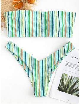 Colorful Stripe Bandeau Bikini Set   Multi L by Zaful