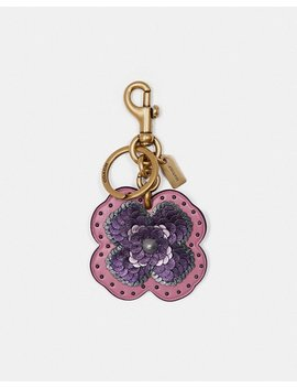 Leather Sequin Applique Tea Rose Bag Charm by Coach