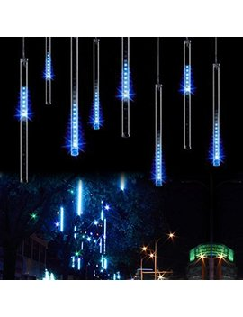 Aukora Rain Drop Lights, Led Meteor Shower Lights 11.8 Inch 8 Tubes 144leds, Icicle Snow Falling Lights For Xmas Wedding Party Holiday Garden Tree Christmas Thanksgiving Decoration Outdoor (Ice Blue) by Aukora