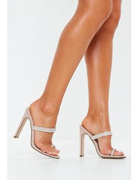 Nude Diamante Trim Toe Post Heels by Missguided