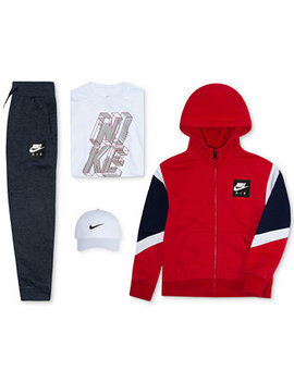 Little Boys Swoosh Cap, Air Full Zip Hoodie, Graphic Print T Shirt & Pants by Nike