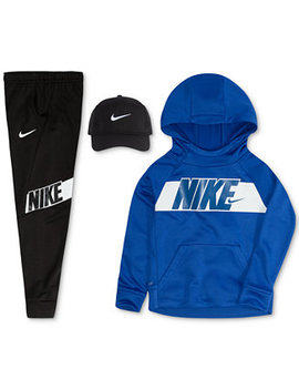 Little Boys Cap, Logo Print Hoodie & Logo Pants by Nike