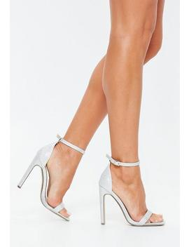 Silver Glitter Square Toe Barely There Heels by Missguided