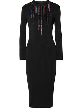 Crystal Embellished Ribbed Stretch Knit Midi Dress by Christopher Kane
