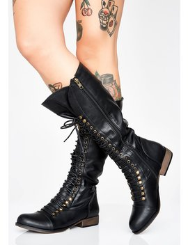 Punk Nation Lace Up Boots by Chase Chloe
