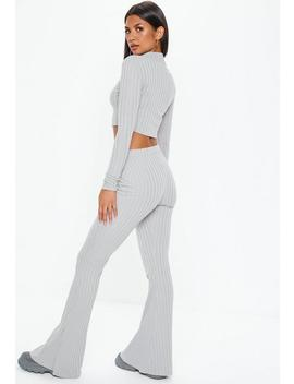 Gray Matte Ribbed Flare Pants by Missguided