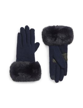 Faux Fur Cuff Touchscreen Gloves by Echo