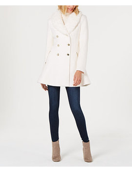 Faux Fur Collar Skirted Coat by Guess