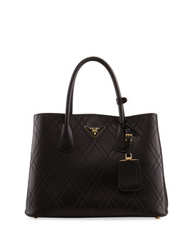 Quilted Double Large Leather Top Handle Bag by Neiman Marcus