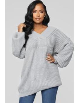 Let's Snuggle Tunic Sweater   Heather Grey by Fashion Nova