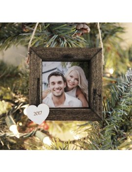 Christmas Ornament, Personalized Photo Ornament, Couple Christmas Ornament, Our First Christmas Picture Ornament, Wood Framed Ornament by Etsy