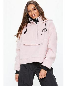 Blush Crop Overhead Borg Jacket by Missguided