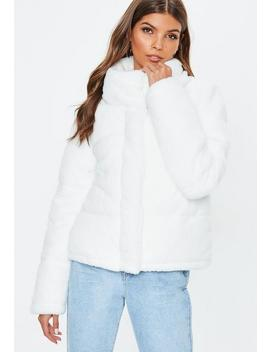 White Faux Fur Puffer Jacket by Missguided
