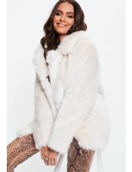 Cream Faux Fur Coat With Collar by Missguided