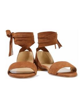 Corbata Fringed Suede Sandals by Stuart Weitzman