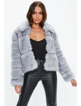 Premium Blue Crop Pelted Faux Fur Jacket by Missguided