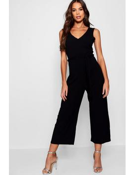 Tall Ribbed Culotte Jumpsuit by Boohoo