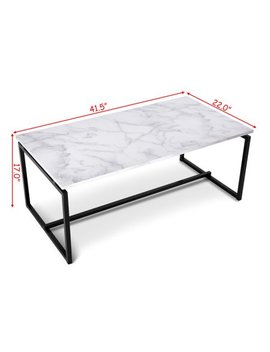 Gymax Metal Frame Cocktail Coffee Table Faux Marble Rectangular Accent Living Room by White Coffee Tables
