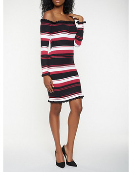 Striped Off The Shoulder Sweater Dress by Rainbow