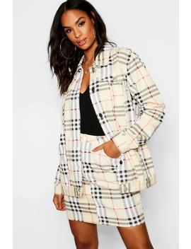 Tall Oversized Check Denim Jacket by Boohoo