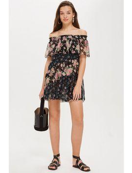 Mix Floral Print Bardot Dress by Topshop