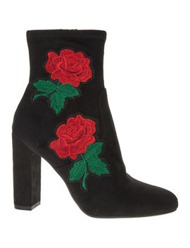 Black & Red Rose Embroidered Ankle Boots by Steve Madden
