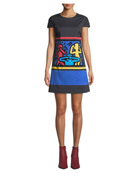 Keith Haring X Alice + Olivia Clyde Embellished A Line Shift Dress by Alice + Olivia