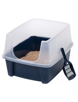 Iris Open Top Cat Litter Box With Shield And Scoop, Navy by Cat Litter Boxes