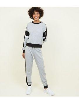 Grey Marl Colour Block Sweatshirt by New Look