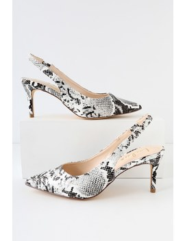 Christa Black And White Snake Pointed Toe Slingback Pumps by Lulus