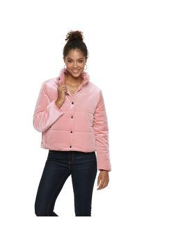Women's Popsugar Velvet Puffer Jacket by Kohl's