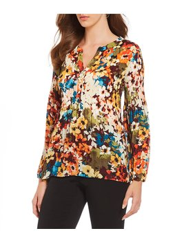 Floral Print Long Sleeve Pleated Y Neck Blouse by Investments
