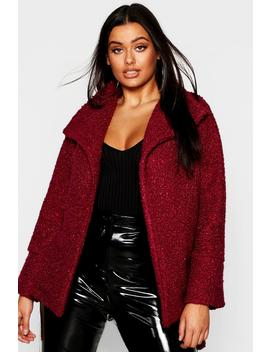 Plus Twisted Wool Look Belted Coat by Boohoo